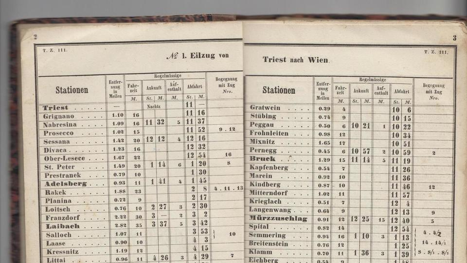 Takšen je bil vozni red vlakov od Dunaja do Trsta sredi 19. stoletja ob otvoritvi Južne železnice